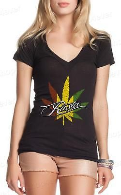 Rasta Pot Leaf Women's V-Neck T-shirt Weed Smoker Shirts 420 clothing Rastafari