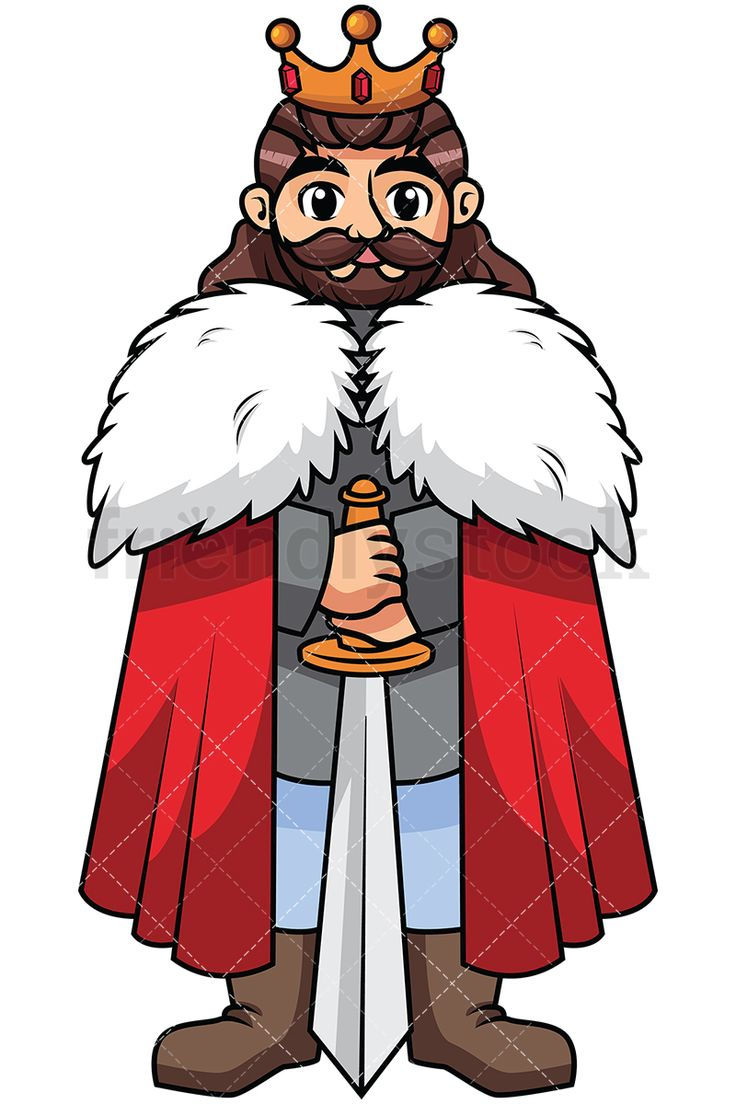 Brave Warrior King With His Sword: Royalty-free stock vector illustration of a confident king wearing a red cloak and a crown, holding his sword with the blade touching the ground. #friendlystock #clipart #cartoon #vector #stockimage #art #king #royal #emperor #monarch #warrior