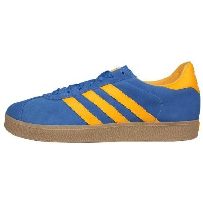 adidas Gazelle Skate Skate Shoes Mens 8. Classic Adidas style! Blue suede with yellow stripes, and to that the gum sole! Here with some added material toughness and tech for the skate line. Still maintaining a retro Adidas look.