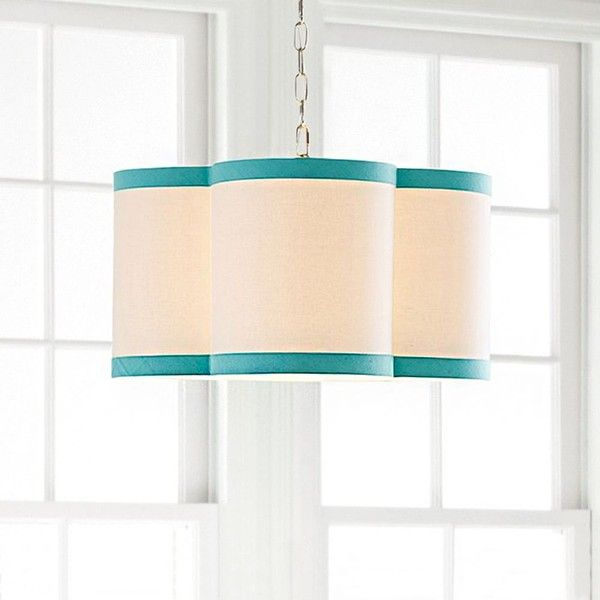 PB Teen Quatrefoil Drum Pendant, Pool ($139) ❤ liked on Polyvore featuring home, lighting, ceiling lights, white linen shade, drum shade, colored lights, linen shade and white shades