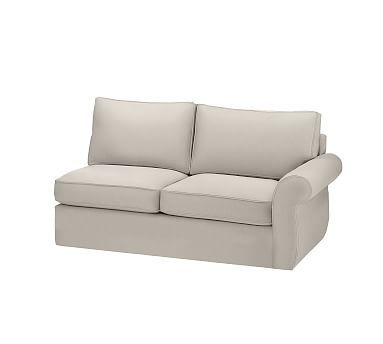 Pearce Slipcovered Right Arm Love Seat, Down-Blend Wrapped Cushions, Washed Linen/Cotton Silver Taupe