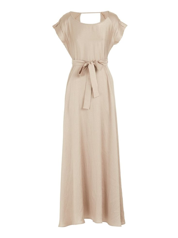 Maxi dress with cap sleeves Gold - Spree