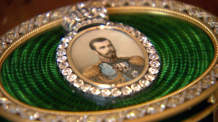 Detail of Imperial presentation box, Fabergé, late 1880s. Incorporates miniature portrait of Tsar Nicholas II set with large diamonds and green enamel surround, as seen in the new documentary Fabergé: A Life Of Its Own. Fabergé: A Life of its Own is in cinemas 29 June. Find out more: http://www.fabergefilm.com