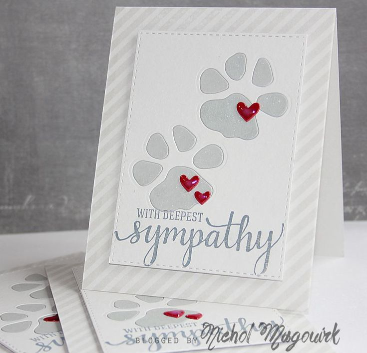 Pet sympathy | SSS Diagonal Stripe Background on a SSS Fog Cardstock base using SSS Fog Ink. SSS Stitched Rectangle Dies. Die cut paw prints from SSS Smoke Cardstock and the SSS Fog Cardstock die cut rectangle using SSS Paws Dies. SSS Mini Hearts die with Glossy Accents for dimension. Hero Arts With Deepest Sympathy greeting using Mama Elephant Dark Storm Pigment Ink. Wink of Stella Clear Glitter Brush Pen for subtle sparkle. Inside: SSS Paw Prints On Our Hearts Stamp Set…