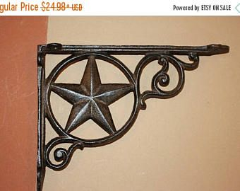 Check out 13% OFF Texas Farm & Ranch Shelf Brackets, Free Shipping, Lone Star Wall Shelf Brackets, Rustic Texas , Cast Iron, Lone Star Corbels, B-19 on wepeddlemetal