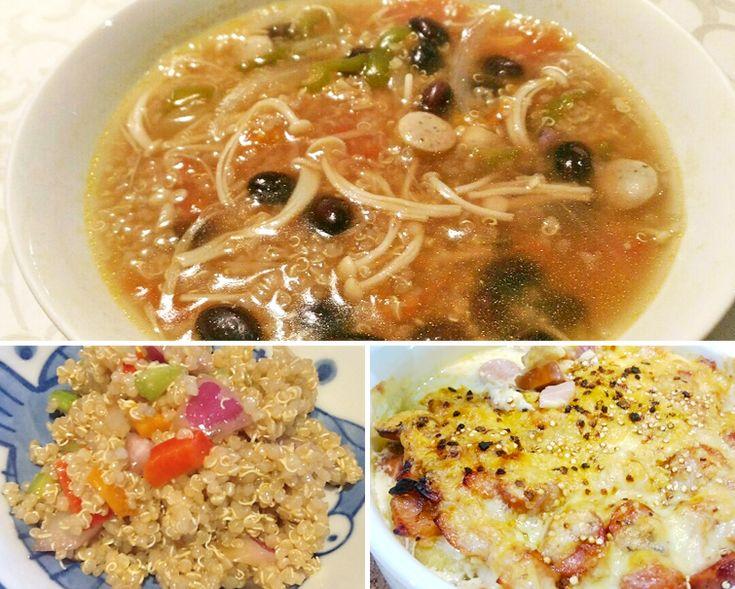 キヌア 効能・効果と食べ方 | スーパーフード《Super Foods》 ★たくさんのお野菜をいただけます 《 キヌアのスープ 》 ●材料(2人分)◎キヌア・・・大さじ4~5位 ◎イオン水・・・600ml位 ◎コンソメ・・・1キューブ ◎トマト・・・1/2 ◎玉ねぎ・・・1/4 ◎ピーマン・・・1個 ◎キャベツ・・・1/4 ◎その他、お好きなお野菜今回はえのき、黒豆も入れました ◎レモンペッパーソーセージ・・・3本位 ◎塩こしょう・・・適量 ◎ローリエ・・・1枚  ★簡単!美味しい!栄養満点! 《 キヌアのサラダ 》 ●材料 ◎キヌア・・・1カップ ◎水・・・2カップ ◎オリーブオイル(炒め用)・・・適量 ◎セロリ・・・1/2 ◎きゅうり・・・5cm位 ◎パプリカ(赤黄)・・・各1/4個 ◎紫たまねぎ・・・小1/4個 ◎ドレッシング(オリーブオイル・・・大さじ1、バルサミコ酢・・・大さじ1、塩・・・小さじ0.8、クミン・・・小さじ1/2)