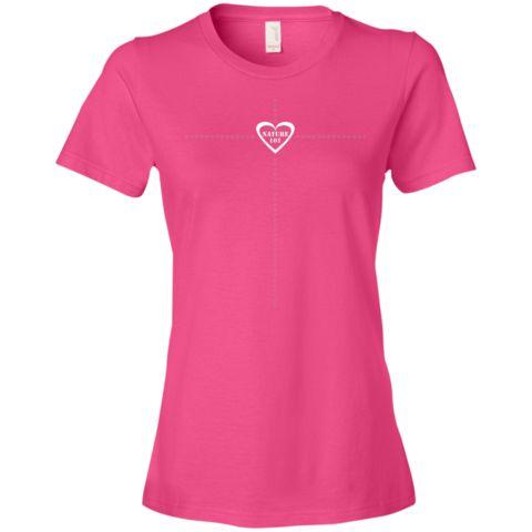 Nature 101 White Star Cross Design Hot Pink Anvil Ladies' Lightweight T-Shirt 4.5 oz by JoDWattsArt