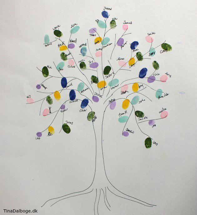 GÆSTETRÆ med gæsternes fingeraftryk - ide til aktivitet og indslag som gæster kan lave til fester. Se flere idéer på Tina Dalbøges kreative blog - stempelpude fra Kreahboshop.dk