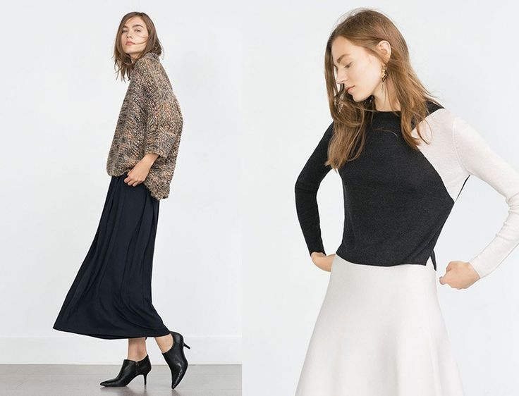 Zara 2015/16 - Etek ve Kazak Modelleri http://www.yesiltopuklar.com/sonbaharda-uzun-etekler-nasil-giyilir.html