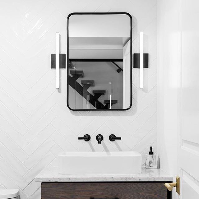 Black And White Create Stunning Symmetry In A Bath Designed By Msatter3 Featuring The Jason Wu For Brizo Two Handle Wall Mou Brizo Lavatory Faucet Bath Design