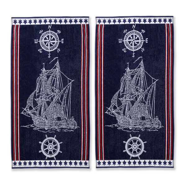Oversized Beach Towels Large Cotton Nautical Ship Set Of 2 Giant Pool Patriotic