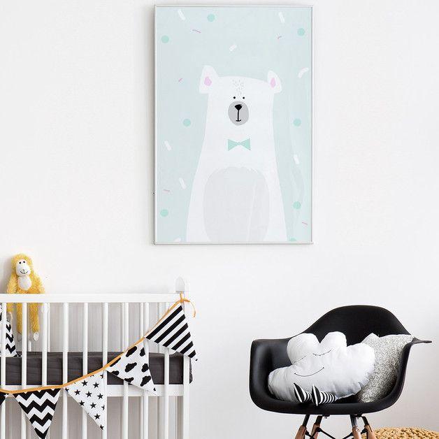 Piękny plakat w odcieniach pastelowych z motywem misia (autorska grafika). Idealny do pokoju dziecięcego.  Plakaty sprzedawane bez obramowania. Kolory mogą się nieznacznie różnić, w zależności od...