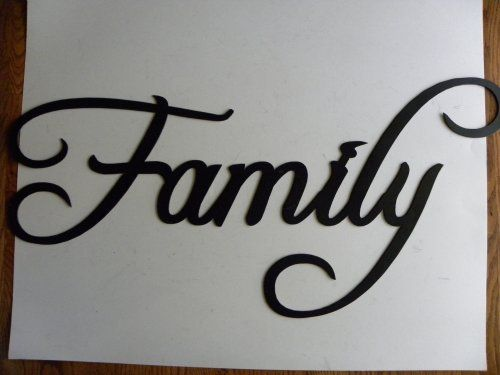 Family Word Sign Large 30 By 12 Home Decor Metal Wall Art Jnj