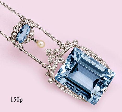 Aquamarine, Diamond, Natural Pearl and Platinum  ca 1915 - 1935.: Pearls Necklaces, Necklaces Sets, 53 50 Carat, Platinum Necklaces, Deco Diamonds, Art Diamonds, Art Deco, Carat Aquamarines, Natural Pearls