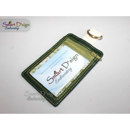 ITH ID Card Holder Luggage Tag 5×7 inch Machine Embroidery Design