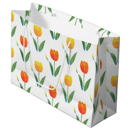 Yellow and Orange Tulips Large Gift Bag  $10.50  by MartiGambaArt  - cyo customize personalize unique diy