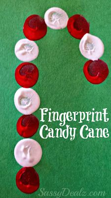 Easy Fingerprint Candy Cane Christmas Craft For Kids| http://www.sassydealz.com/2013/11/easy-fingerprint-candy-cane-christmas.html