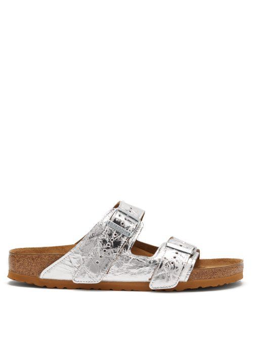 a8f7ffe0ca1 RICK OWENS RICK OWENS - X BIRKENSTOCK ARIZONA LEATHER SANDALS - MENS -  SILVER.  rickowens  shoes