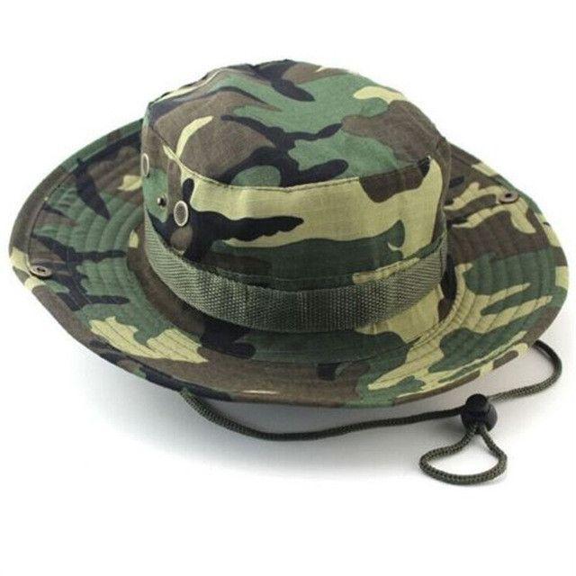Camouflage Bucket Hats Wide Brim Sun Cap Ripstop Camo
