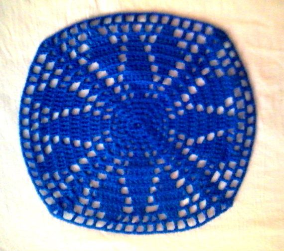 Check out this crochet doily /coaster in my Etsy shop https://www.etsy.com/listing/214240814/royal-blue-crochet-doily-coaster