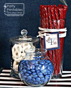 July 4th themed food ideas & link to purchase the printables