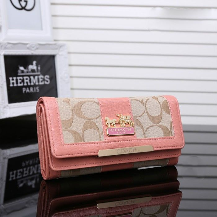 Coach Logo Monogram LZ1704 Flap Wallet In Pink