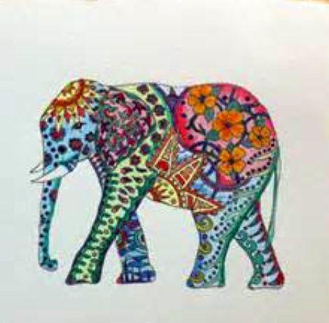 zentangle color elephant