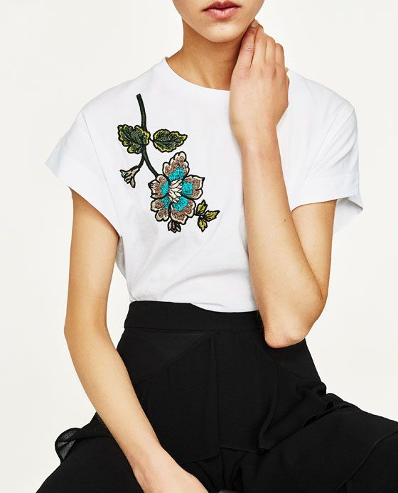 Image 2 of EMBROIDERED FLOWER T-SHIRT from Zara