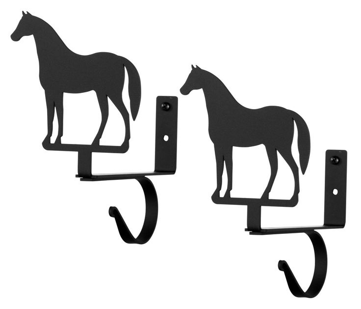 Wrought Iron Standing Horse Curtain Rod & Shelf Brackets