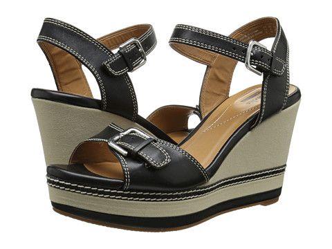 Clarks Zia Castle Black - 6pm.com � Black Wedge ShoesBlack High Heel SandalsPlatform  Wedge ...