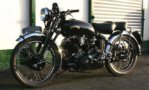 Vincent Black Shadow - when I was a teenager there was a Vincent in the window of a local motorcycle repair shop. For years I used to stop and look at it. They built The Black Shadow from 1948-55 and in a later road test it did 123 mph. It was 998 cc 50-degree V Twin. This was a 1948 Superbike.