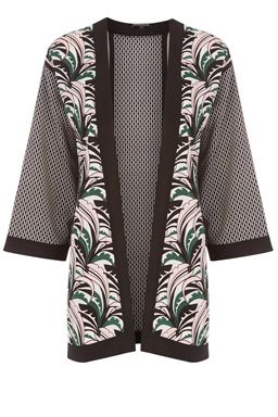 This printed kimono is constructed from a lightweight woven fabric and features an open front, cropped sleeves, and all-over leaf and geo print. Length of kimono, from shoulder seam to hem, 76cm approx. Height of model shown: 6ft inches/183cm. Model wears: UK size 10.Fabric:Main: 100.0% Polyester.Wash care:Machine WashProduct code: 02291299 £36.00