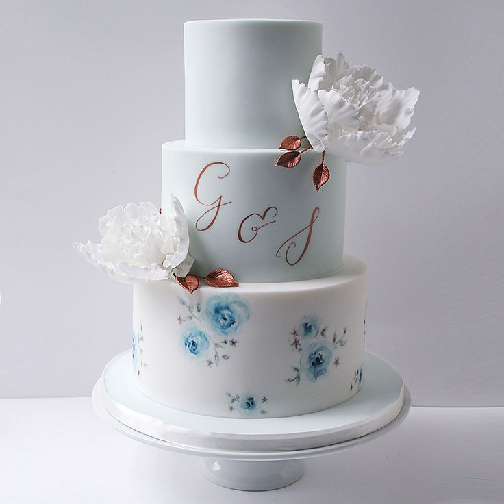 Blue Painted Wedding Cake With Copper Calligraphy Details By Wildflower Cakes London Wildflowercakes