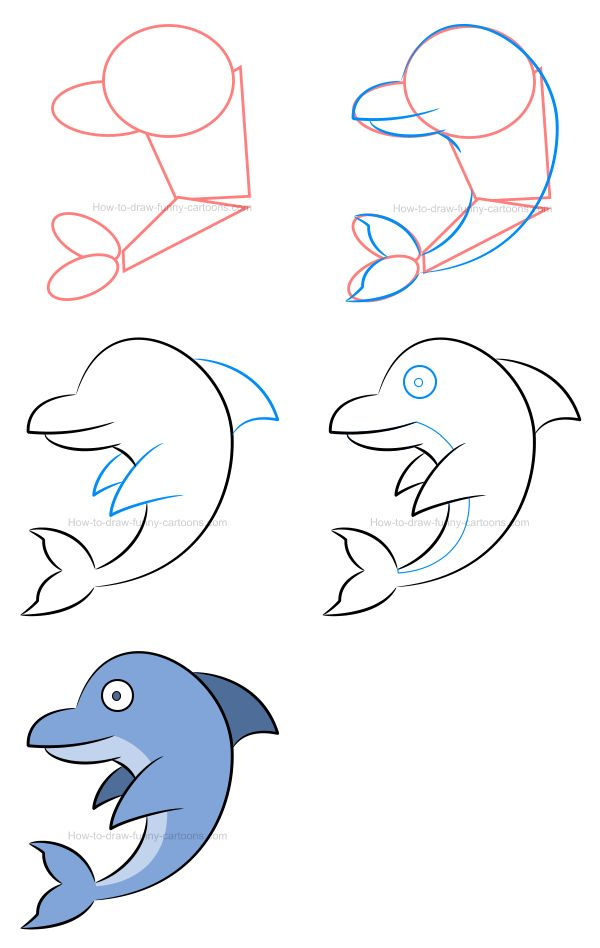 How to draw a cartoon dolphin, select the proper color and then make the whole illustration in 3D! #howtodraw #cartoonanimal #cartoondolphin #dolphin