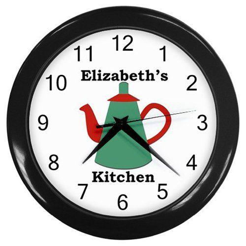 Personalized+Dark+Green+Teapot+Kitchen+Wall+Clock