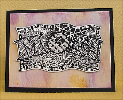 handmade Mother's Day card ... MOM spelled out in the middle of a zentangle ... clever idea ...