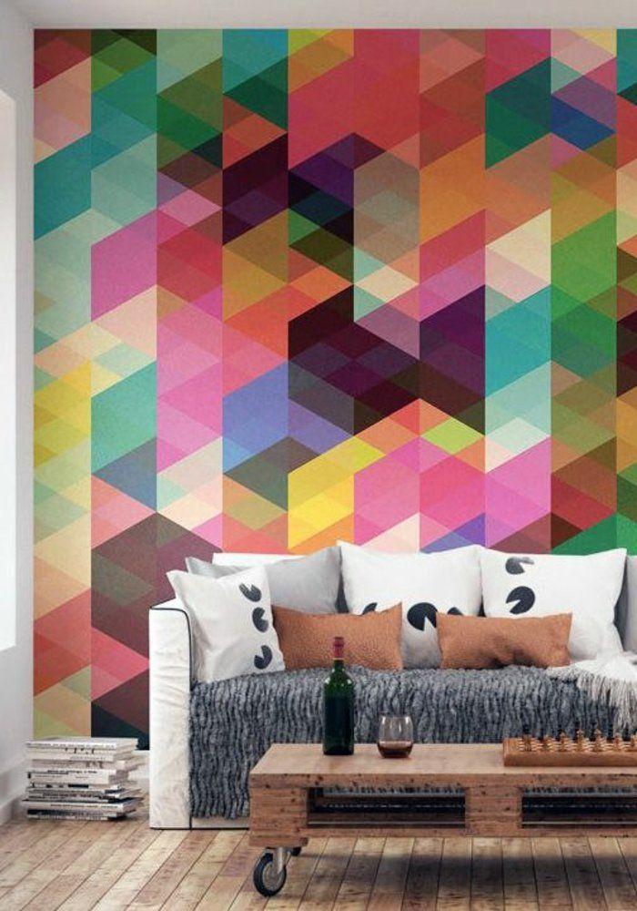 Les 25 meilleures id es de la cat gorie escaliers de for Salon avec papier peint