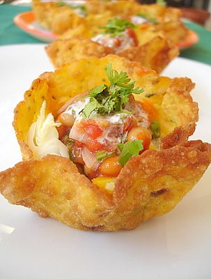 Mexican Tacos Cups ....with vegetable-baked beans filling topped with salsa and sour cream