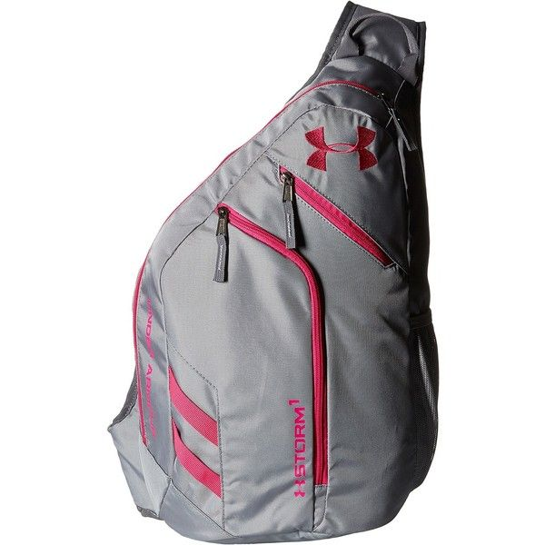 Under Armour UA Compel Sling II (Steel/Graphite/Tropic Pink) Backpack... ($45) ❤ liked on Polyvore featuring bags, backpacks, grey, strap backpack, under armour, steelers backpack, pocket backpack and zipper bag