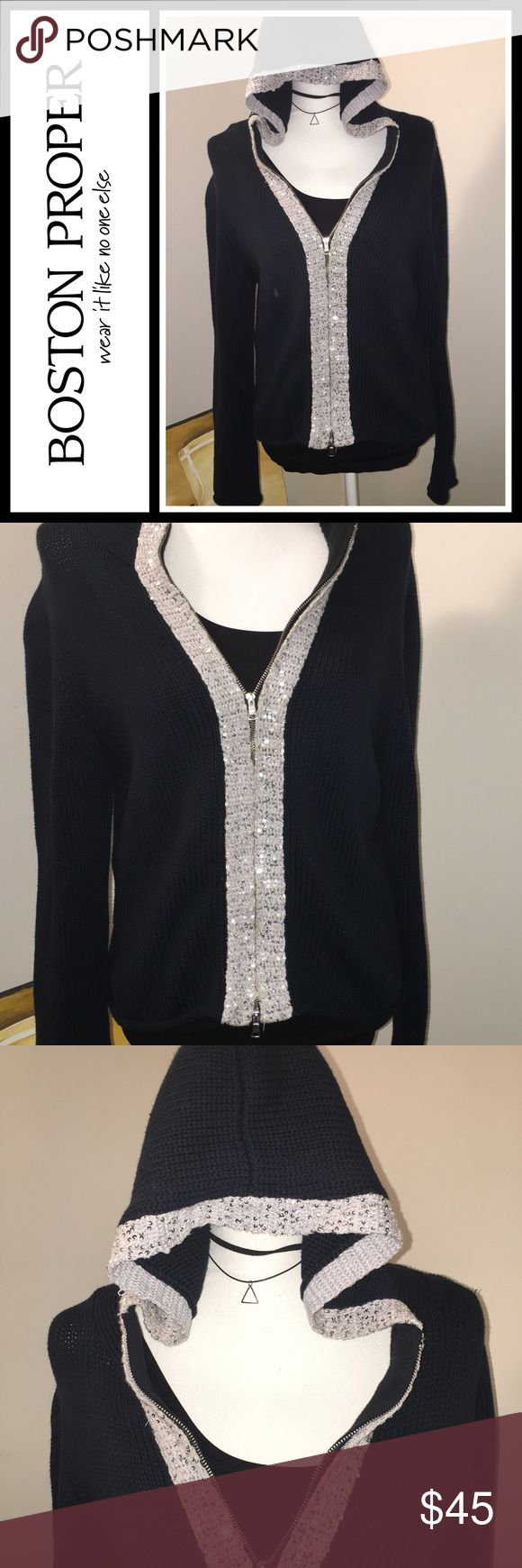 Boston Proper Navy Zip up Hoodie with Sequins Excellent condition, 100% Wool - heavy material - navy blue with silver Sequin trim - size medium Boston Proper Tops Sweatshirts & Hoodies