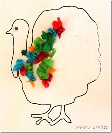 Preschool Thanksgiving turkey tissue paper craft