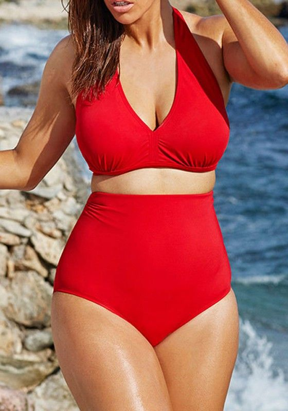 Red Plain V-neck High Waisted Plus Size Two Piece Swimwear