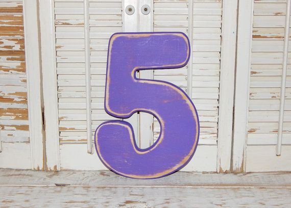 Number 5 Wall Decor Birthday Photo Props Wood by HensNestTreasures
