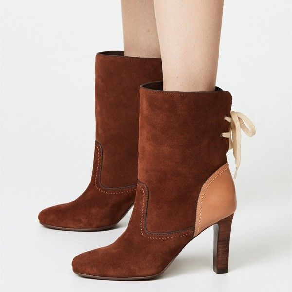 61e86588d42 Brown Back Lace up Suede Boots Round Toe Chunky Heel Ankle Booties ...