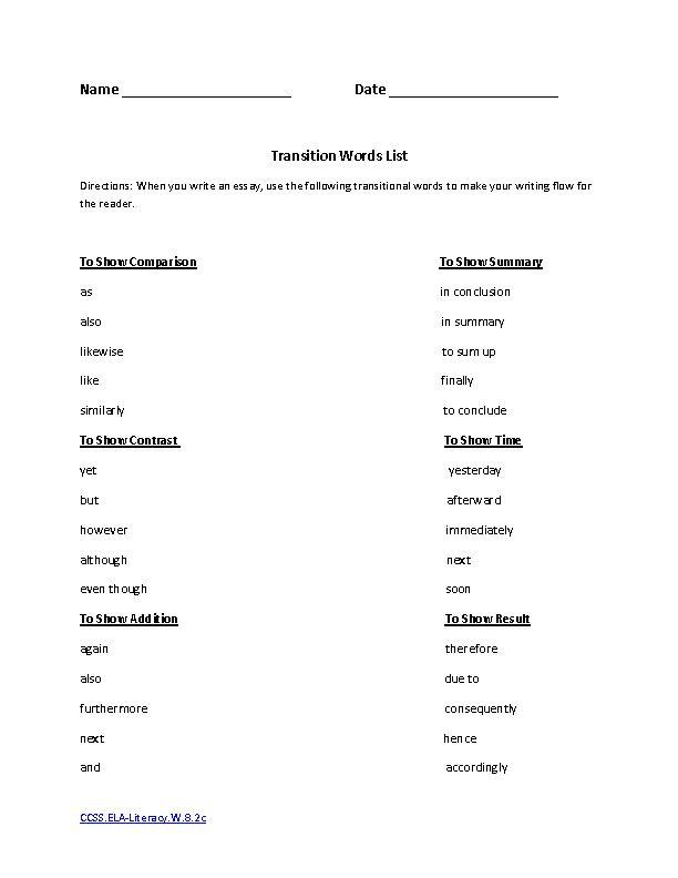 8th grade ela printable worksheets