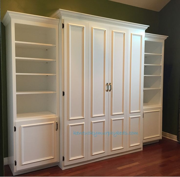 white painted mdf queen size murphy bed flat panel surface trimmed doors two bookcases