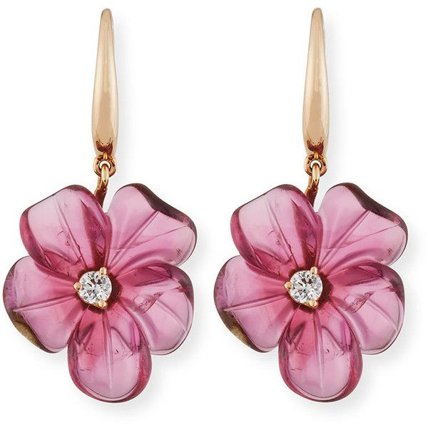 Rina Limor 19mm Pink Tourmaline Flower Earrings with Diamonds ($2,800) ❤ liked on Polyvore featuring jewelry, earrings, diamond earrings, diamond drop earrings, 18 karat gold earrings, drop earrings and 18k earrings