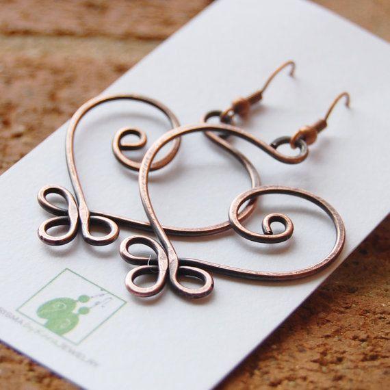 Brincos de cobre, oxidado, Grande, coração celta, jóias fio