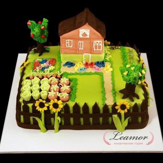 Торт в виде огорода