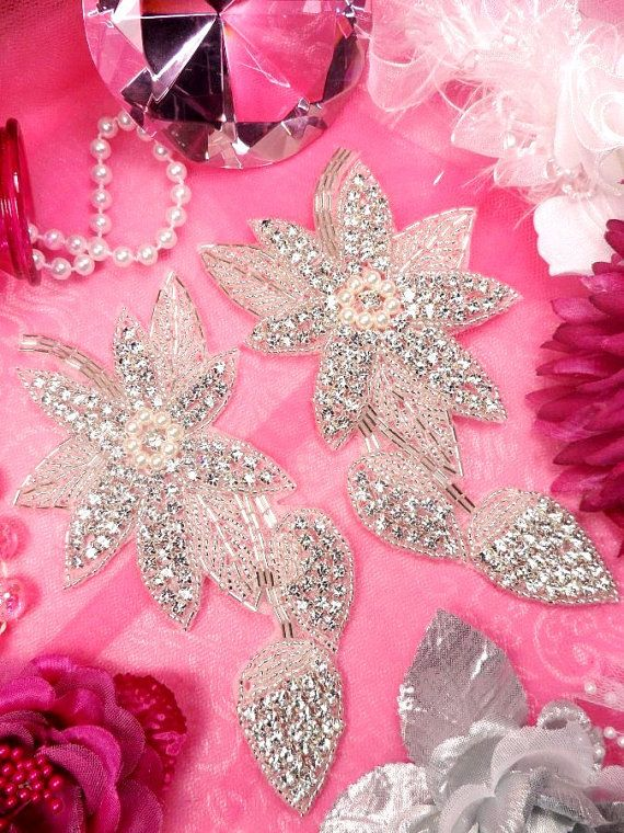 XR146 Floral Mirror Pair Silver Beaded Crystal by gloryshouse, $19.99 also on gloryshouse.com